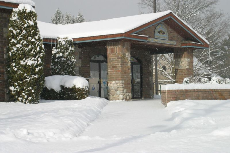 Township Hall  with winter snow